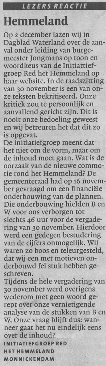 Ingezonden brief in Noord-Hollands Dagblad van Initiatiefgroep 6 december 2006